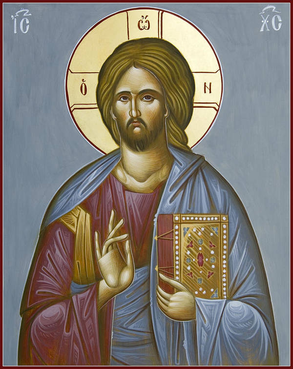 Icon Print featuring the painting Christ Pantokrator by Julia Bridget Hayes