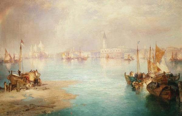 Thomas Moran Print featuring the painting Venice by Thomas Moran