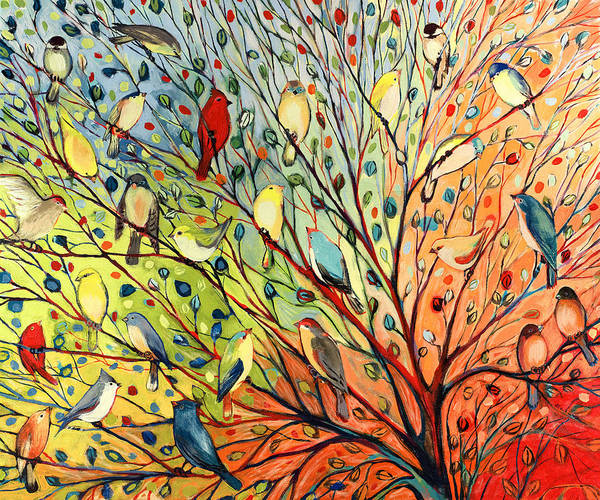 Bird Print featuring the painting 27 Birds by Jennifer Lommers