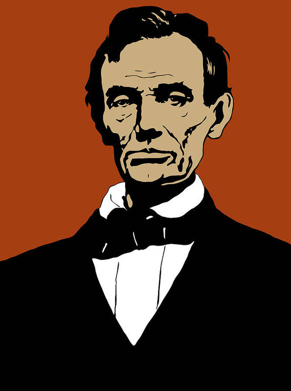 Abraham Lincoln Print featuring the digital art President Lincoln by War Is Hell Store