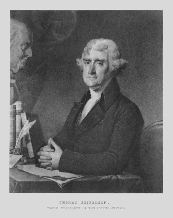 Us Presidents Print featuring the drawing Thomas Jefferson by War Is Hell Store