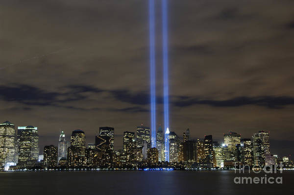 Memorial Print featuring the photograph The Tribute In Light Memorial by Stocktrek Images