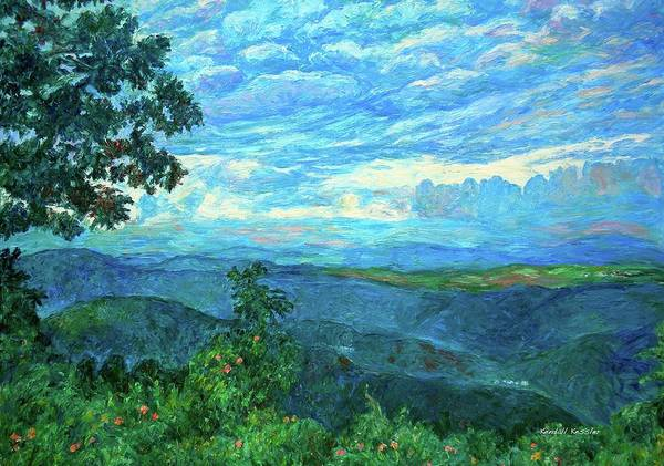 Mountains Print featuring the painting A Break In The Clouds by Kendall Kessler
