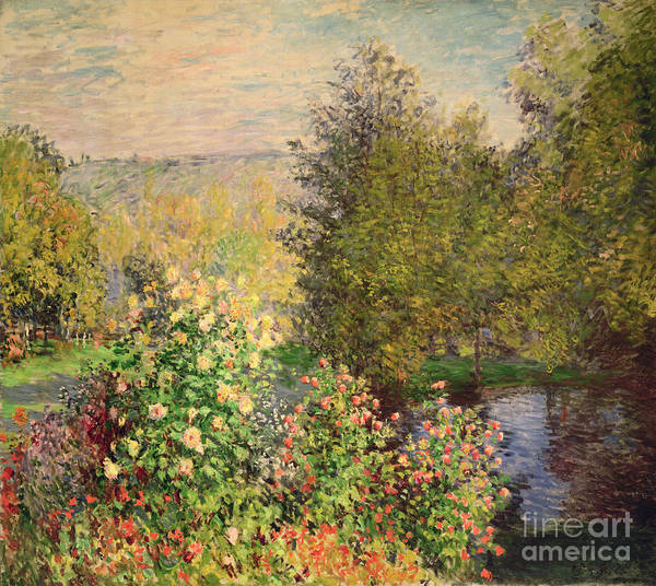 Corner Print featuring the painting A Corner Of The Garden At Montgeron by Claude Monet