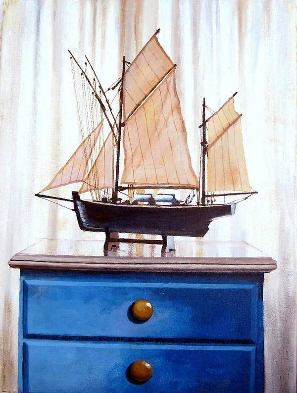 Fishing Boat Print featuring the painting A Fishin Boat Right Outside Of Delacroix by Tim Johnson