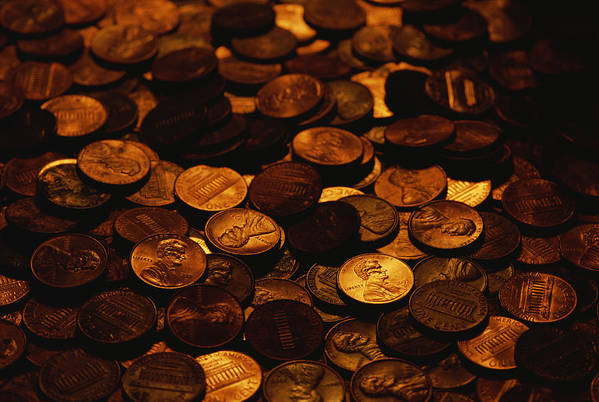Money Print featuring the photograph A Mound Of Pennies by Joel Sartore