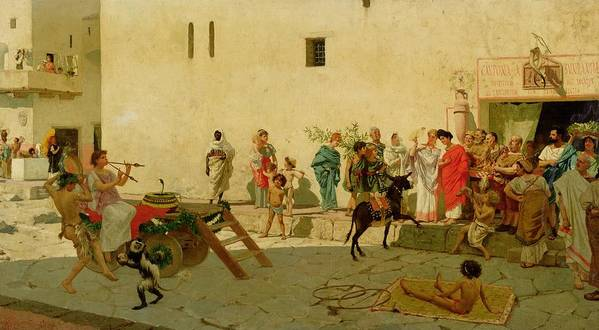 A Roman Street Scene With Musicians And A Performing Monkey Print featuring the painting A Roman Street Scene With Musicians And A Performing Monkey by Modesto Faustini
