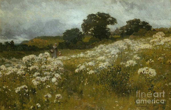 Across The Fields (oil On Canvas) By John Mallord Bromley (1862-1940) Print featuring the painting Across The Fields by John Mallord Bromley