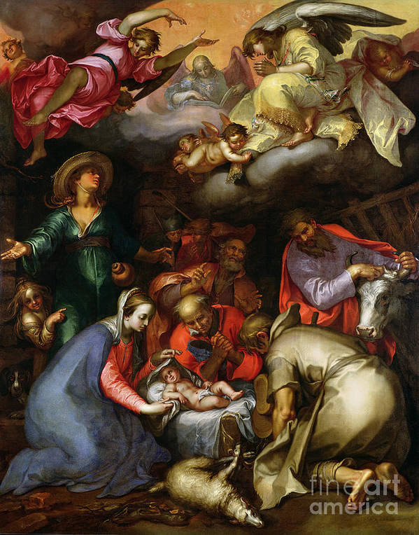 Adoration Of The Shepherds Print featuring the painting Adoration Of The Shepherds by Abraham Bloemaert
