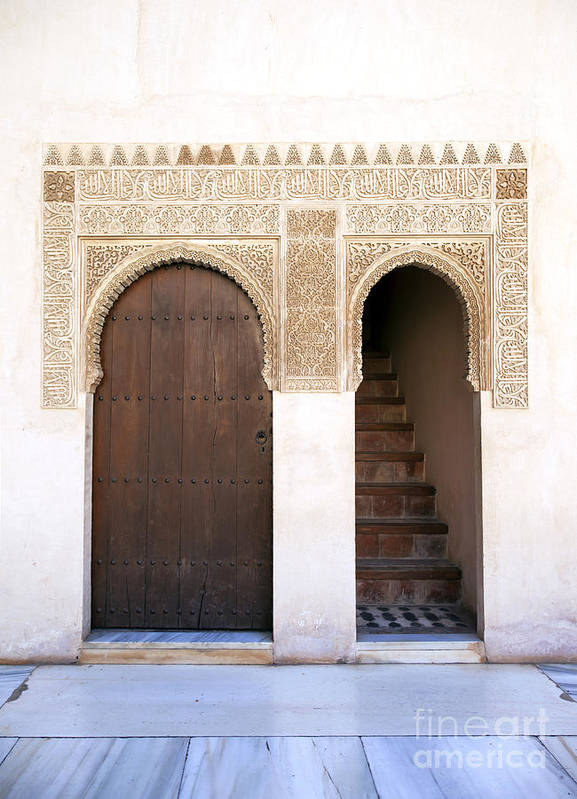 Alhambra Print featuring the photograph Alhambra Door And Stairs by Jane Rix