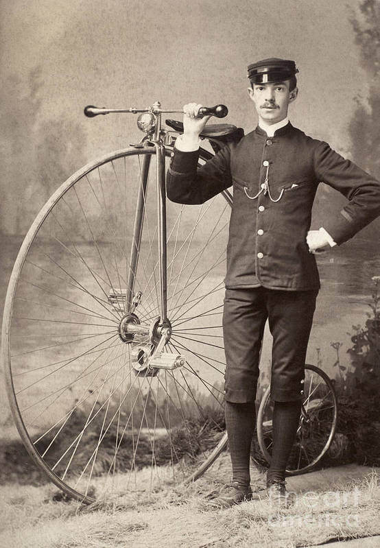 1880s Print featuring the photograph American Bicyclist, 1880s by Granger