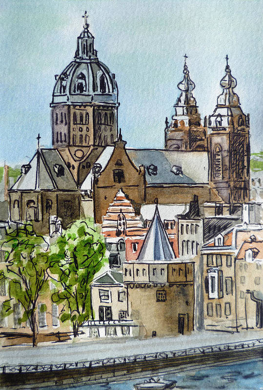 Amsterdam Print featuring the painting Amsterdam Holland by Irina Sztukowski