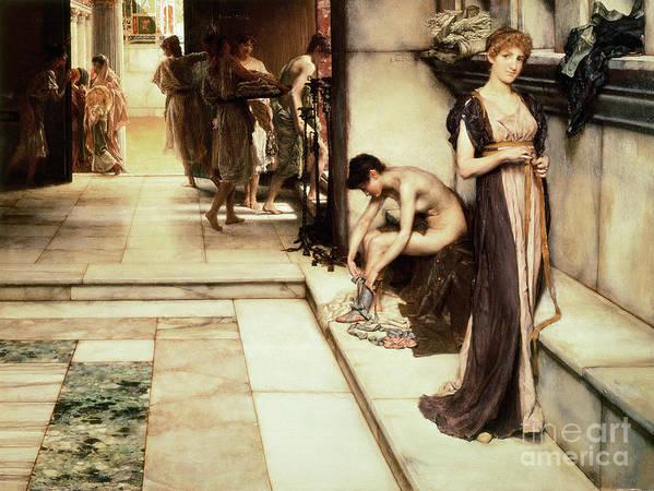 Apodyterium Print featuring the painting An Apodyterium by Sir Lawrence Alma-Tadema