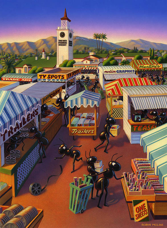 Ants Print featuring the painting Ants At The Hollywood Farmers Market by Robin Moline