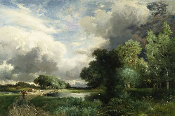 Approaching Storm Clouds (oil On Canvas) Landscape; River; Field; Tree; Weather; Thomas Moran Print featuring the painting Approaching Storm Clouds by Thomas Moran