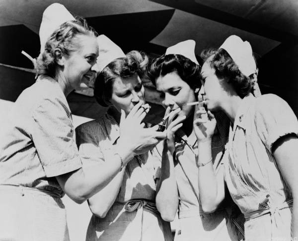 History Print featuring the photograph Army Nurses Lighting by Everett