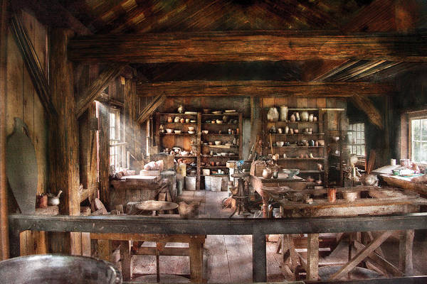 Savad Print featuring the photograph Artist - Potter - The Potters Shop by Mike Savad