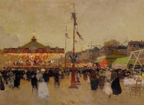 At The Fair (oil On Canvas) By Luigi Loir (1845-1916) Fair; Fairground; Fete; Carousel; Merry-go-round; Figures; Crowd; Crowds; France; French; Flag; Flags; Tricolour; Impressionist; Impressionism; Attraction Print featuring the painting At The Fair by Luigi Loir