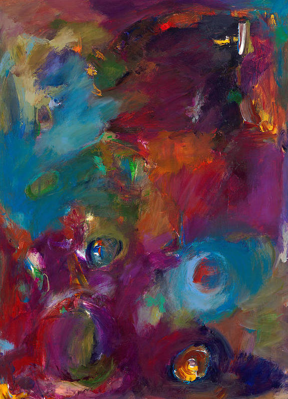 Abstract Expressionistic Artwork Print featuring the painting Aubergine Mist by Johnathan Harris