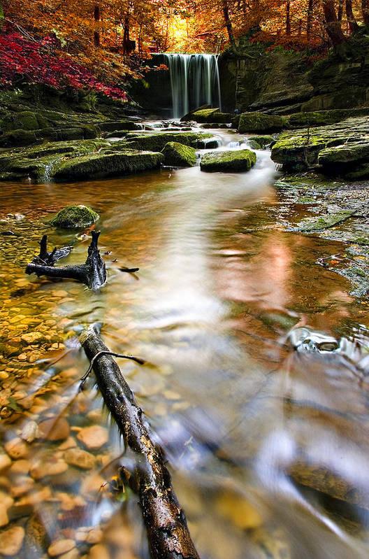 Autumn Print featuring the photograph Autumnal Waterfall by Meirion Matthias