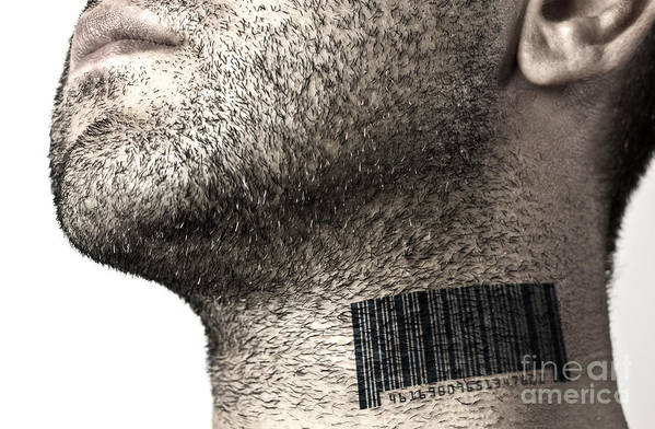 Bar Code Print featuring the photograph Bar Code On Neck by Blink Images