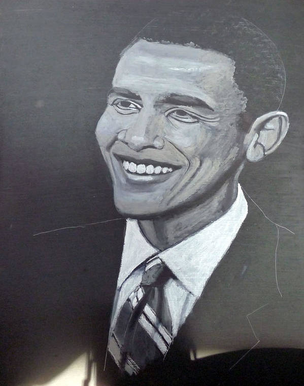 People Print featuring the painting Barack Obama by Richard Le Page