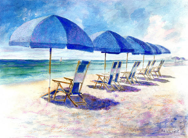 Beach Print featuring the painting Beach Umbrellas by Andrew King