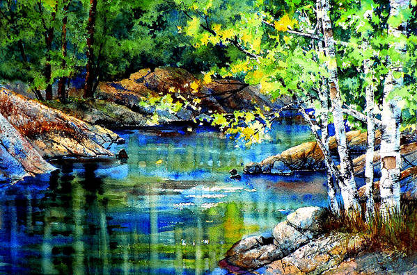 Landscape Painting Print featuring the painting Bear Paw Stream by Hanne Lore Koehler