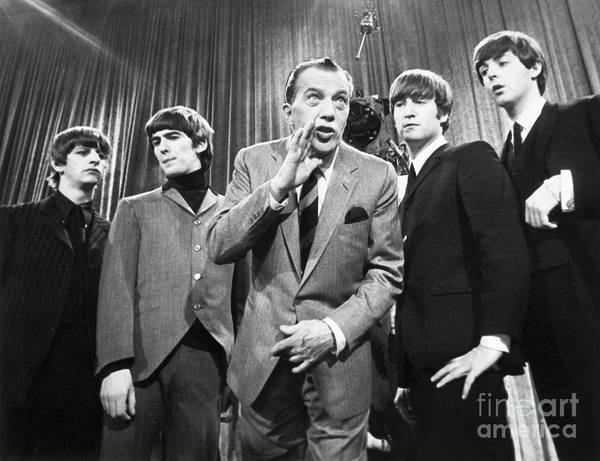 1964 Print featuring the photograph Beatles And Ed Sullivan by Granger