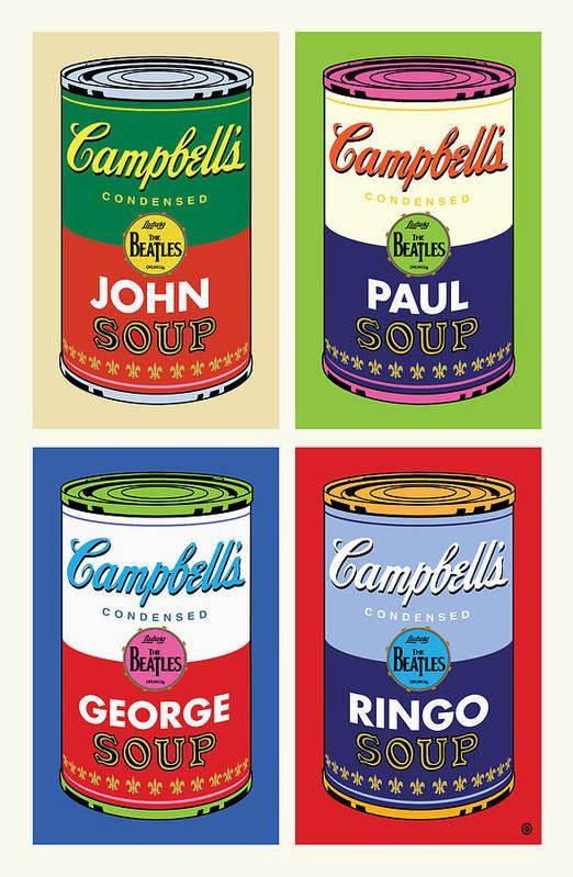 Pop Art Print featuring the digital art Beatles Soup by Gary Grayson