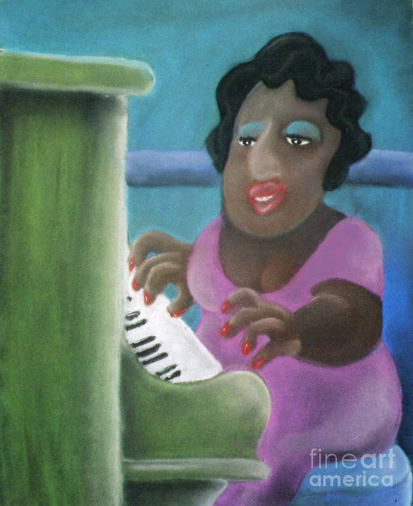 Playing Piano Print featuring the pastel Big Mama by Caroline Peacock