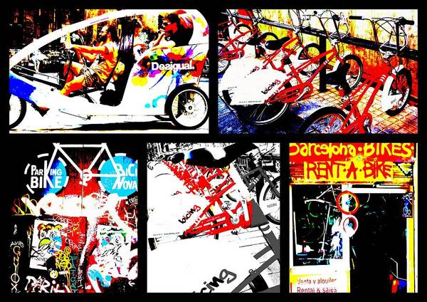 Bicycle Print featuring the photograph Biking In Barcelona by Funkpix Photo Hunter