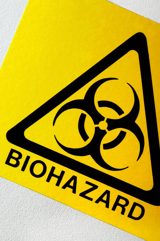 Label Print featuring the photograph Biohazard Symbol by Tim Vernon, Nhs Trust