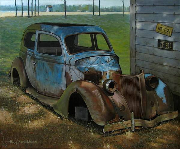 Doug Strickland Print featuring the painting Blue Ford by Doug Strickland