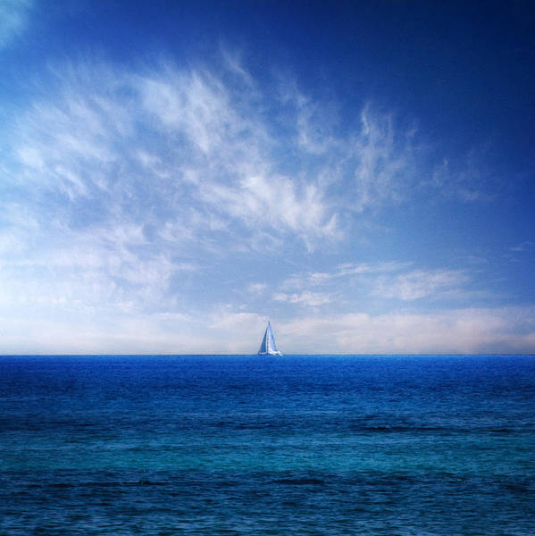 Background Print featuring the photograph Blue Mediterranean by Stelios Kleanthous
