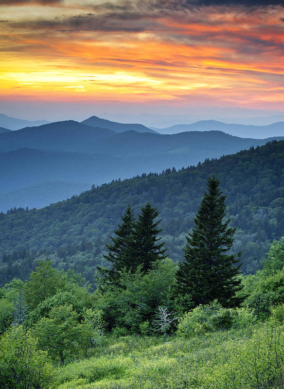 Blue Ridge Parkway Print featuring the photograph Blue Ridge Parkway Nc Landscape - Fire In The Mountains by Dave Allen