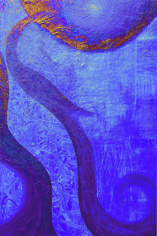 Blue Print featuring the painting Blue Seed by Ishwar Malleret
