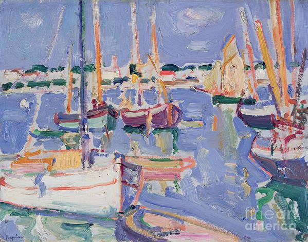 Boats Print featuring the painting Boats At Royan by Samuel John Peploe