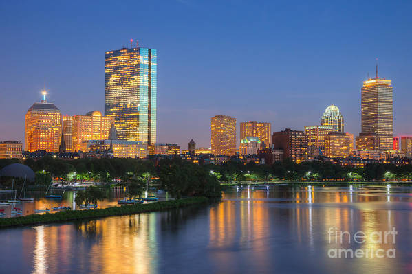 Clarence Holmes Print featuring the photograph Boston Night Skyline II by Clarence Holmes