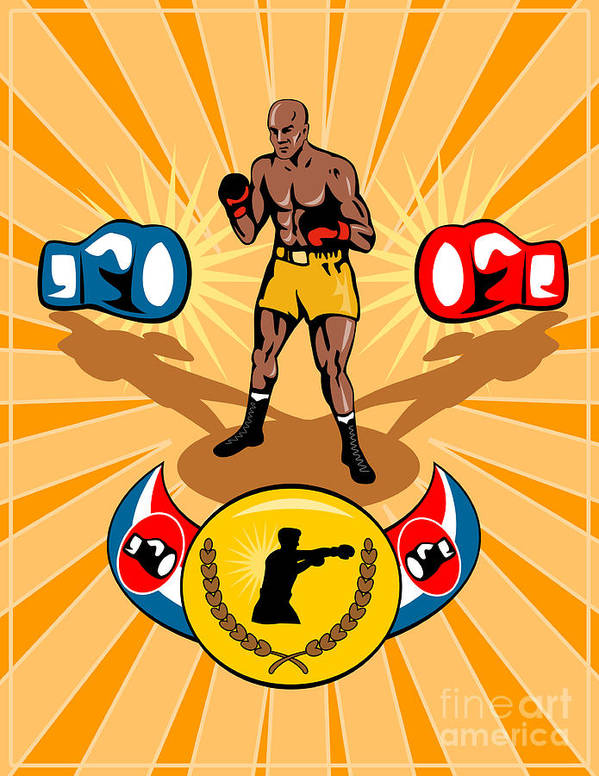 Boxer Print featuring the digital art Boxer Boxing Poster by Aloysius Patrimonio