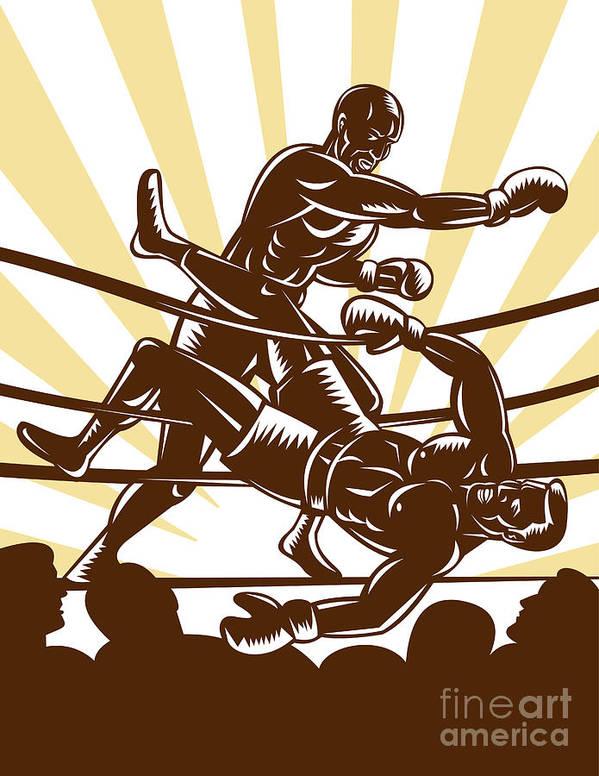 Boxing Print featuring the digital art Boxer Knocking Out by Aloysius Patrimonio