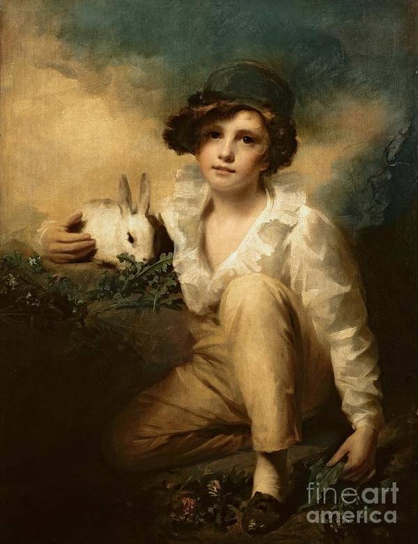 Boy Print featuring the painting Boy And Rabbit by Sir Henry Raeburn