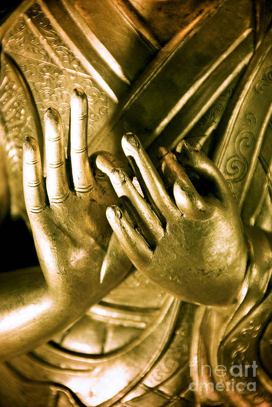 Ancient Print featuring the photograph Buddhas Hands by Ray Laskowitz - Printscapes