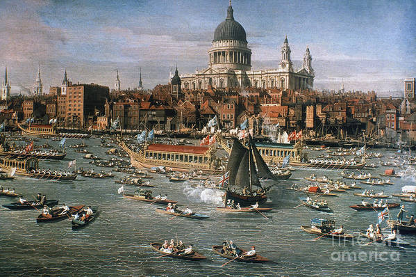 18th Century Print featuring the photograph Canaletto: Thames, 18th C by Granger