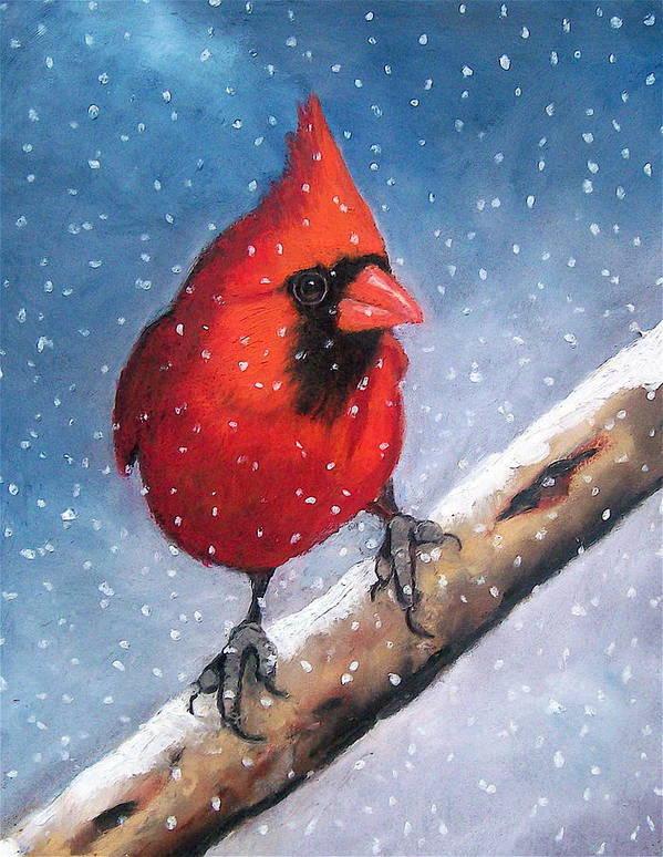 Bird Print featuring the pastel Cardinal In Winter by Joyce Geleynse