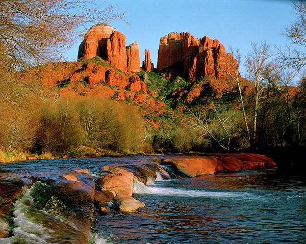 Afternoon Print featuring the photograph Cathedral Rock At Redrock Crossing by Crystal Garner