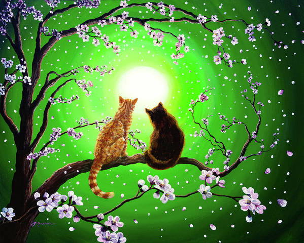 Black Cat Print featuring the painting Cats On A Spring Night by Laura Iverson