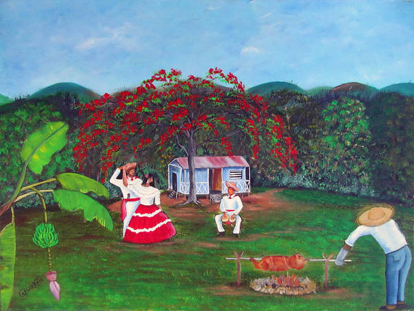 Puerto Rico Fiesta Print featuring the painting Celebration by Gloria E Barreto-Rodriguez