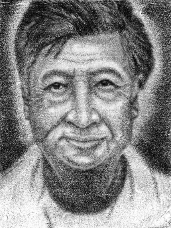 Cesar Print featuring the drawing Cesar El Santo by Roberto Valdes Sanchez