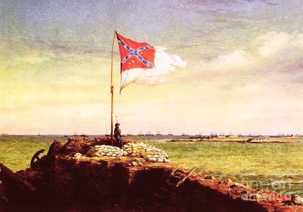 1863 Print featuring the photograph Chapman Fort Sumter Flag by Granger